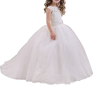 yeoyaw Aline Girls Prom Dresses Lace Applique Tulle Girls Flower Communion Dress Wedding Prom Gown