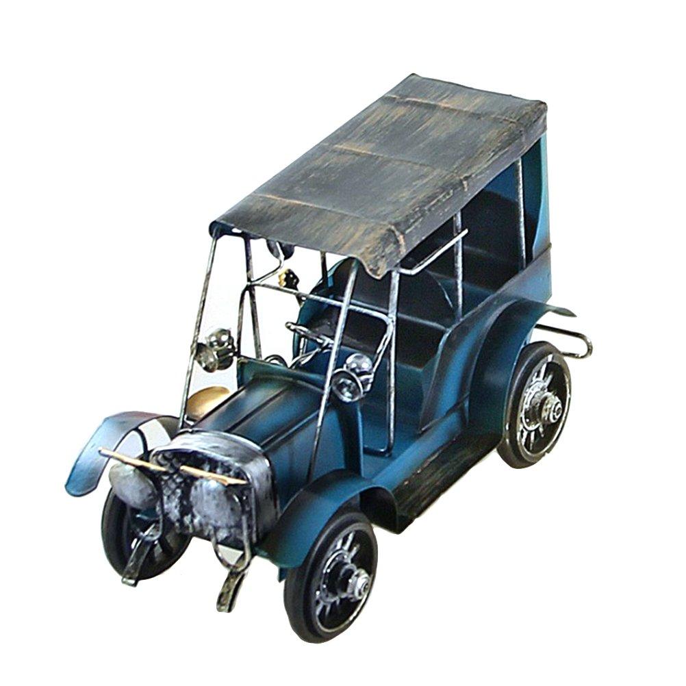 VORCOOL Vintage Iron Car Model Handmade Classic Vehicle Models Retro Handicraft Collectible Iron Art Sculpture Home Desk Workplace Office Decoration (Blue)
