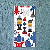 SOCOMIMI Soft Luxury Towel a Boy Sea Theme Objects Collection Fishes Ship Lighthouse Sailors Octopus Blue Red Absorbent Ideal for Everyday use