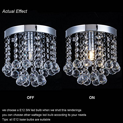 Chandelier Crystal Lighting,Modern Flush Mount Ceiling Light,Rain Drop Pendant Ceiling Lamp for Hallway Suitable for Dining Room,Banquet Hall H7.3 X W7.9 by Floodoor (Image #3)