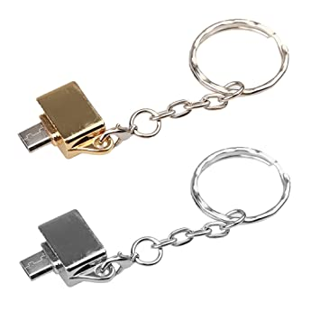 H HILABEE 2PCS Micro USB A USB 2.0 Adaptador OTG Llavero ...