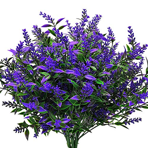 Grunyia Artificial Lavender Flowers Plant Bouquet for Wedding Decor and Table Centerpieces Home Decor, Office, Garden, Patio Decoration (6 Piece,Blue) (Table Flower Blue Centerpiece)