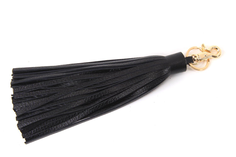 J&S Leather Tassel Charm for Women's Handbag Accessories 16 Colors Black