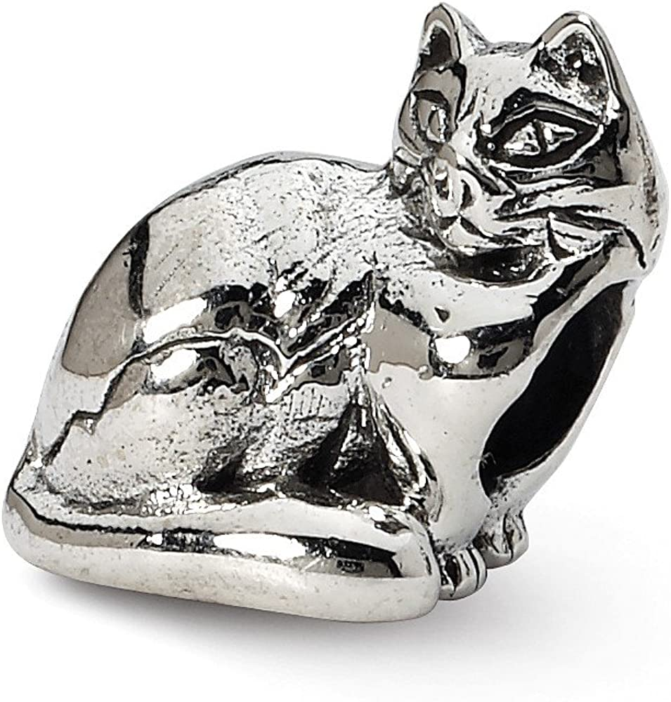 Solid 925 Sterling Silver Reflections Ragdoll Cat Bead 8.2mm x 10mm