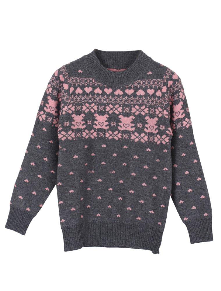 Mallimoda Girl's Cute Long Sleeve Pullover Knit Heart Bear Sweater Grey Crew Neck 7-8 Years