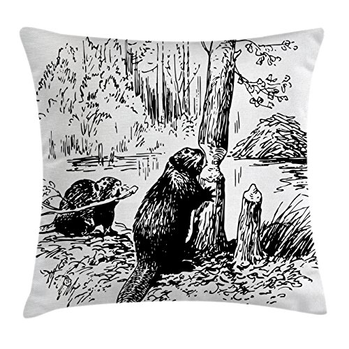 Wildlife Decor Throw Pillow Cushion Cover by Ambesonne, Eurasian Beaver Furry Aquatic Mammal by Creek in Forest Hand Drawn Image, Decorative Square Accent Pillow Case, 24 X 24 Inches, Black - Gift Shop Beaver Creek