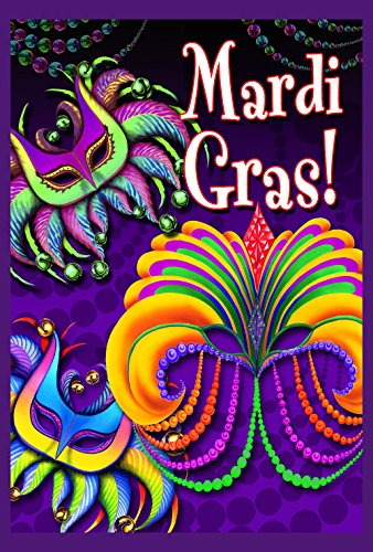 Toland Home Garden Happy Mardi Gras 28 x 40 Inch Decorative Mask Beads Double Sided House Flag