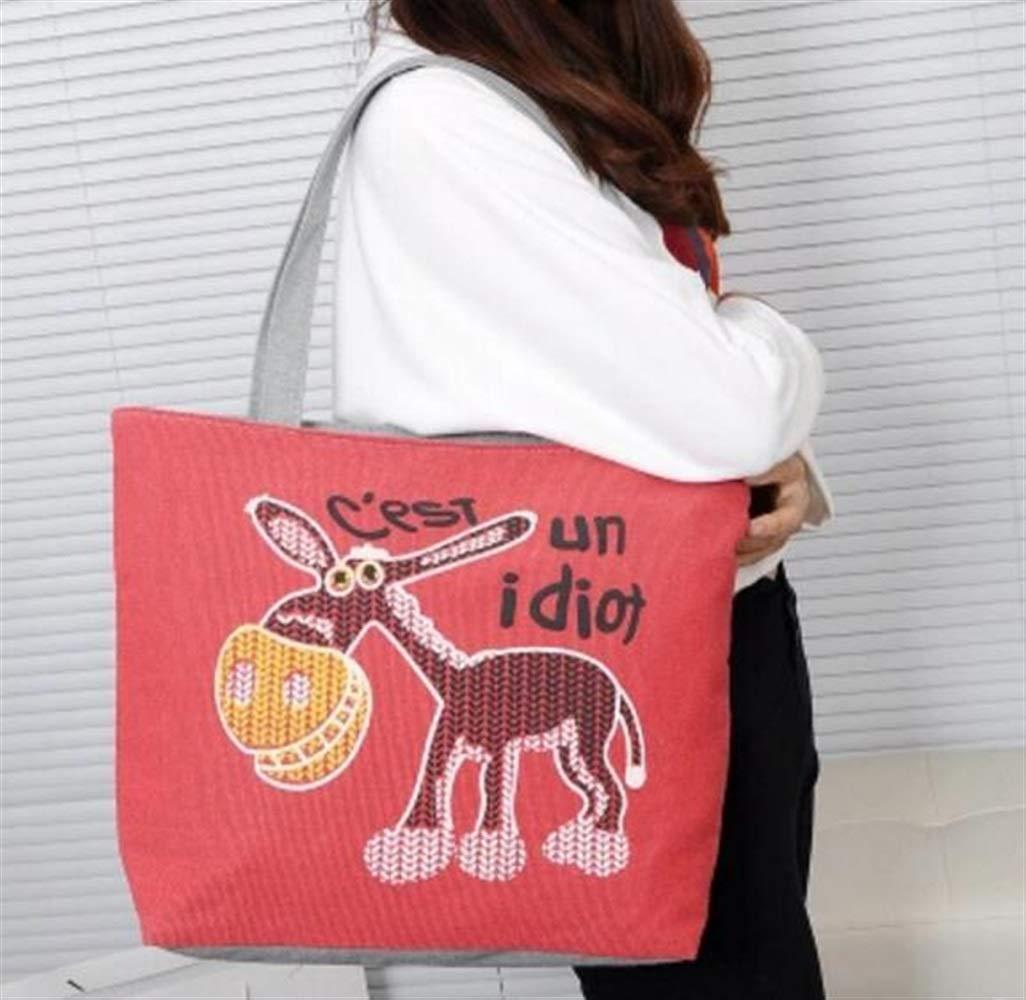 Pinjewelry Bag Little Donkey Print Canvas Shoulder Bag Portable Shopping Bag Tote Bag Red