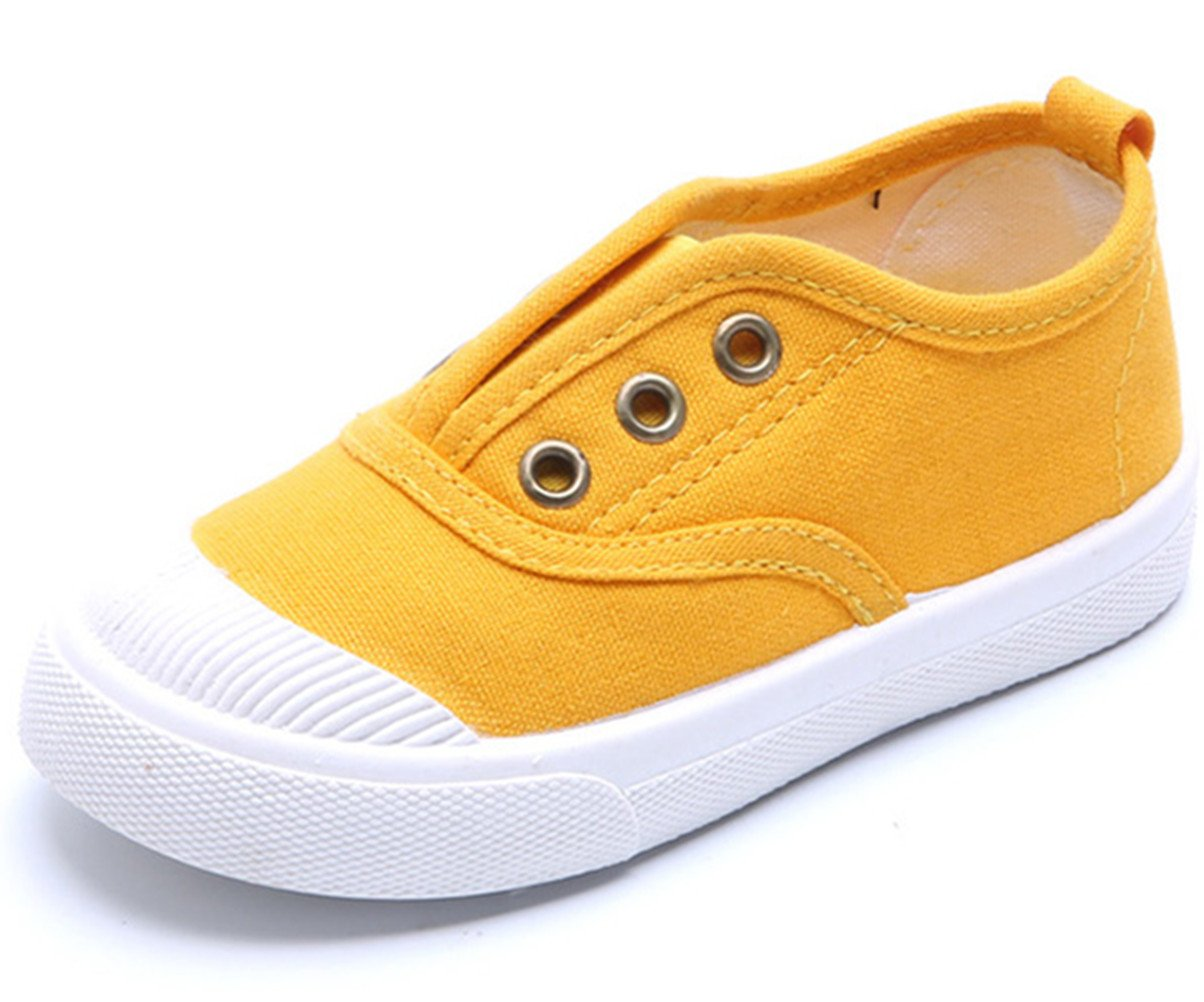DADAWEN Baby's Boy's Girl's Canvas Light Weight Slip-On Loafer Casual Running Sneakers Yellow US Size 7 M Toddler