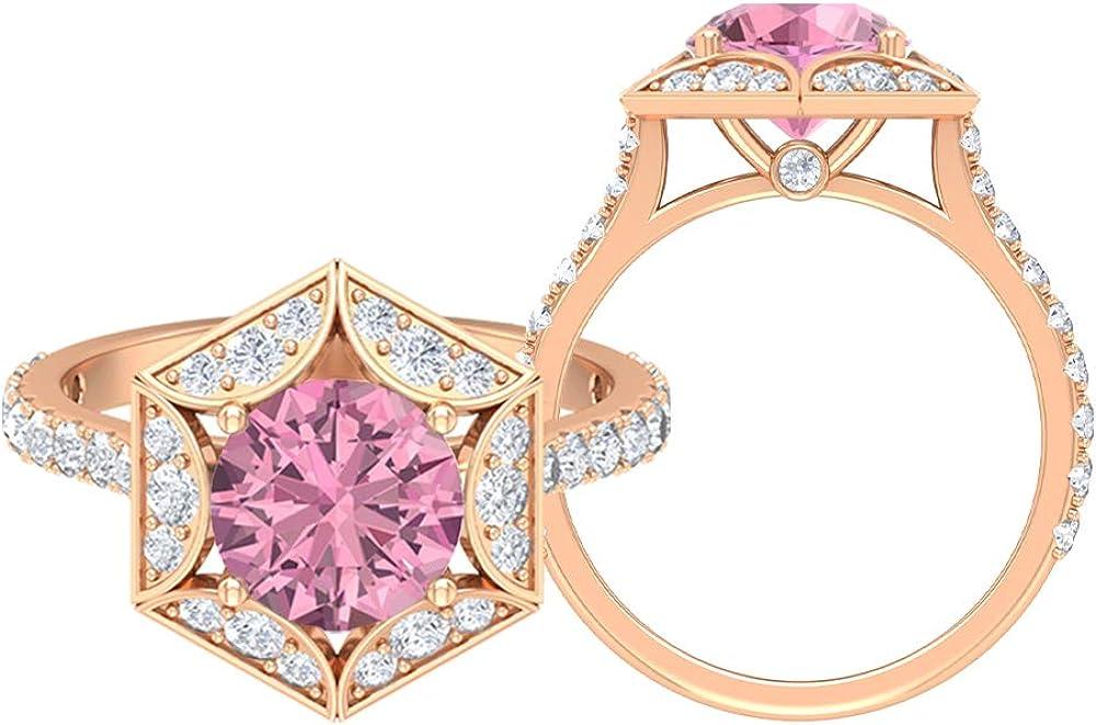 Anillo hexagonal solitario, piedra redonda de 2,94 quilates, turmalina D-VSSI, turmalina de 8 mm, anillo de compromiso Art Deco, anillo de ajuste de corona, regalo de aniversario, 14K Oro