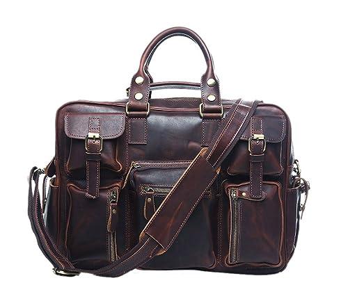 5ef67978b Insum portátil maletín de piel Para Hombre Bolso de mano, color Marrón, talla  Talla Unica: Amazon.es: Zapatos y complementos