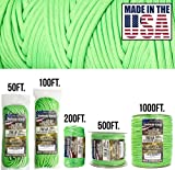 TOUGH-GRID 750lb Neon Green Paracord/Parachute Cord - Genuine Mil Spec Type IV 750lb Paracord Used by the US Military (MIl-C-5040-H) - 100% Nylon - Made In The USA. 200Ft. - Neon Green