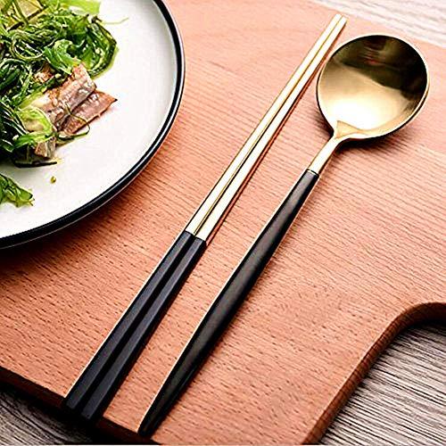 Chopsticks Spoon Set - Autohome 2 Spoons and 2 Pairs Chopsticks Saintless Steel Dinner Flatware - Black&Golden