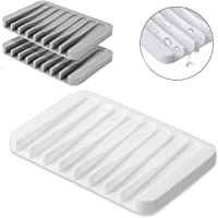 Comway 3 Pack Soap Dish Self Draining Soap Case Holder, Silicone Rubber Drainer Dishes Soap Saver for Shower, Bathroom…
