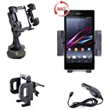"""DURAGADGET IN Car Window Or Dashboard Rotating Holder Suction Mount + BONUS Car Cigarette Charger (Worth £4.49) For Sony Xperia Z1 / Z1F, Xperia Z Ultra, Xperia E, Xperia Ion, Xperia L4 Togari, Experia T, Xperia SX, Xperia X8, Xperia J & Xperia T2 Ultra – 6"""" phablet"""
