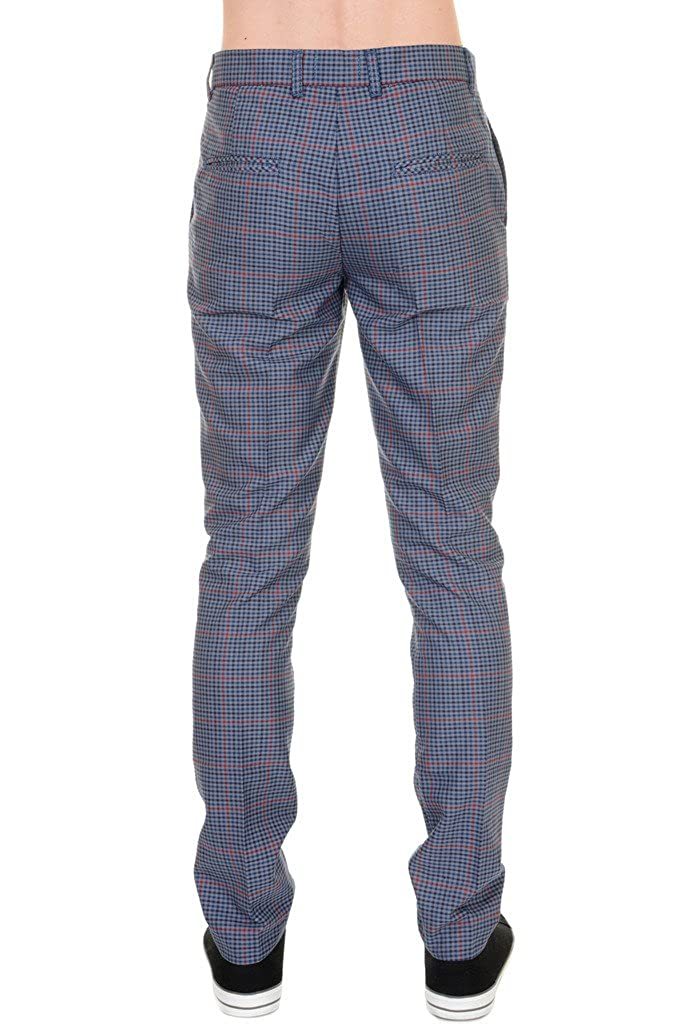 Mens 60s Vintage Retro Mod Blue Multi Check Tweed Slim Skinny Fitting  Trousers 38 Regular  Amazon.co.uk  Clothing 3a303ef1a