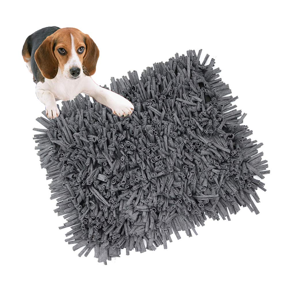 FXQIN Foldable Dog Snuffle Mat Slow Feeding Mat Dog Training and Feeding Pad for Small, Medium and Large Dogs, Stress Release (Gray)