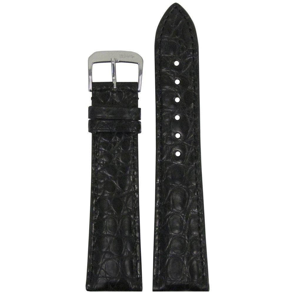 rios1931 Imperial Genuine Alligator Watch Band with Matchステッチ114 x 82 20mm ブラック/ブラック 20mm|ブラック/ブラック ブラック/ブラック 20mm B074WC63G6