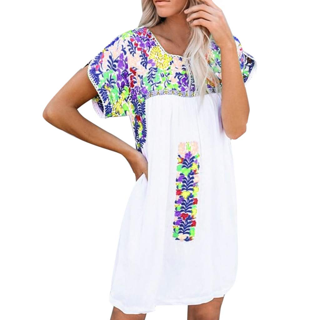 Howley Summer Fashion Women's Round Neck Short Sleeve Print Casual Loose Mini Dress(S-5XL) (Blue, L) by Howley