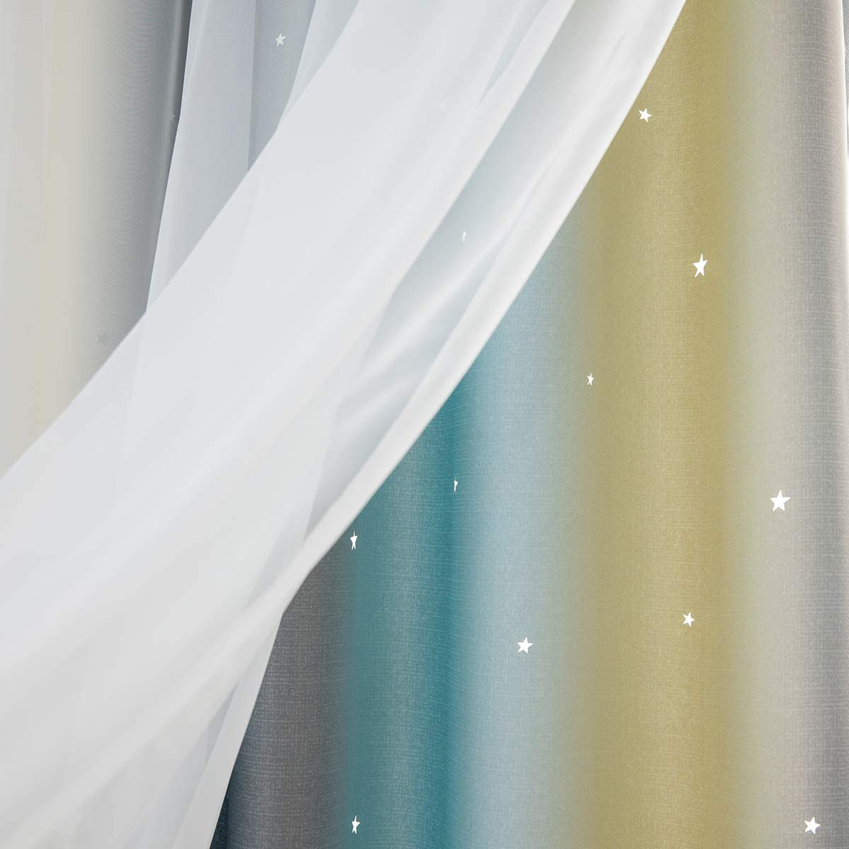 Colorful Double Layer Star Cut Out Eyelet Curtains for Kidss Bedroom Living Room Beige Calmson Blackout Curtains 100 x 250cm