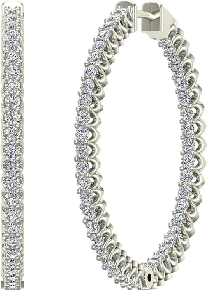 Exquisite 34 mm Diameter Inside Out Diamond Hoop Earrings 1.80 Ctw 14K Gold Shared Prong Setting G,SI