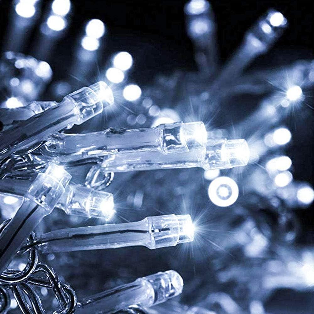 Hochzeiten Weihnachten Lichterkette Innen Batteriebetriebene Au/ßen Garten Deko Lichterketten Musik Fee Lichter 12Modi 10M 100LED mit Fernbedienung f/ür Wohnzimmer Blau+Wei/ß Party Garten