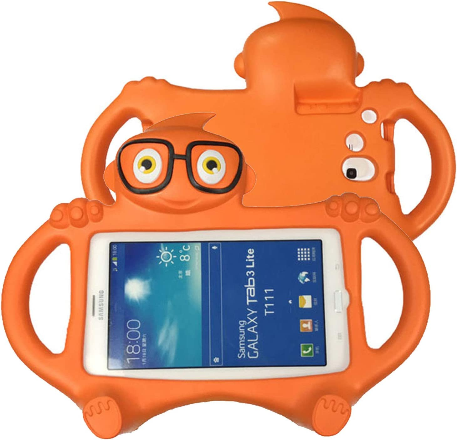 Kids Case for Samsung Galaxy Tab 3/3 Lite 7.0 inch, T110/T210 Case, UGOcase Lightweight Shockproof EVA Foam Super Protection Handle Stand Case Cover for Galaxy 7 inch SM-T110 T111 T210 T211, Orange