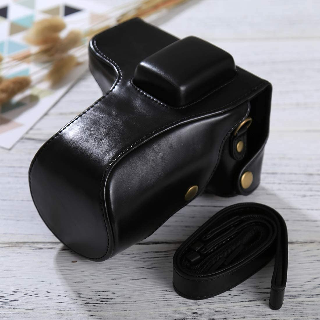 YANTAIANJANE Camera Accessories Full Body Camera PU Leather Case Bag with Strap for Samsung NX300 Black Color : Black