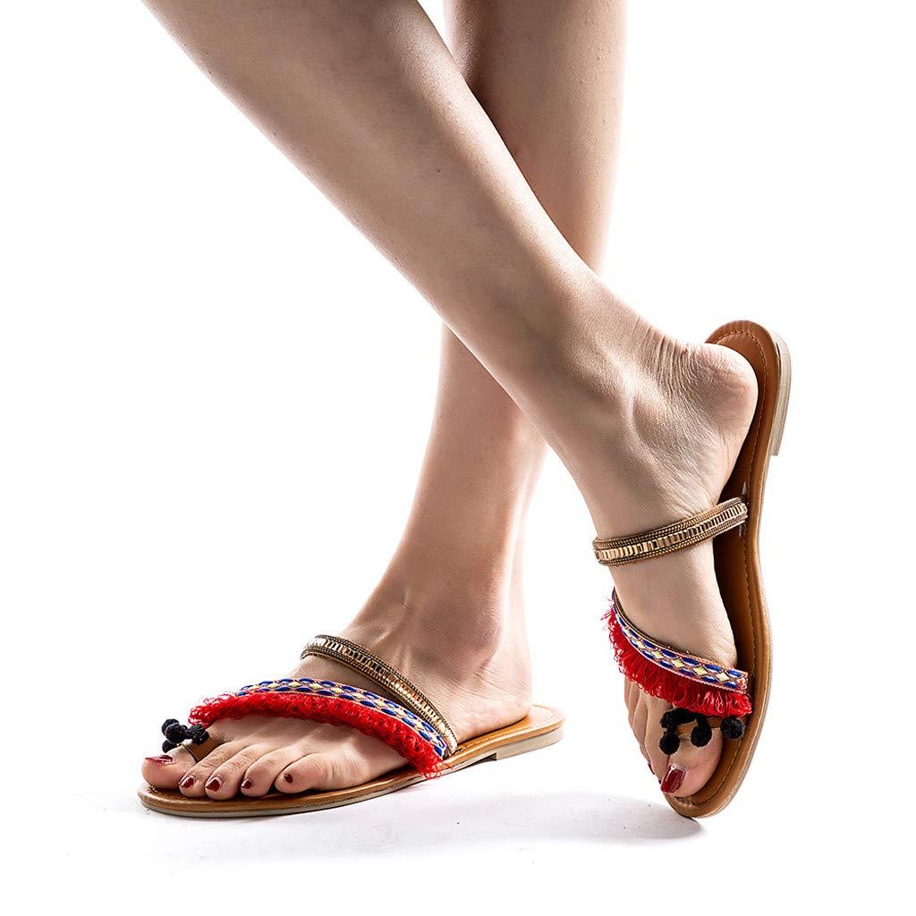 Sandals Womens Ladies Spring Summer Ethnic Flat Heel Slippers Beach Sandals Roman Shoes Pandaie Womens ..