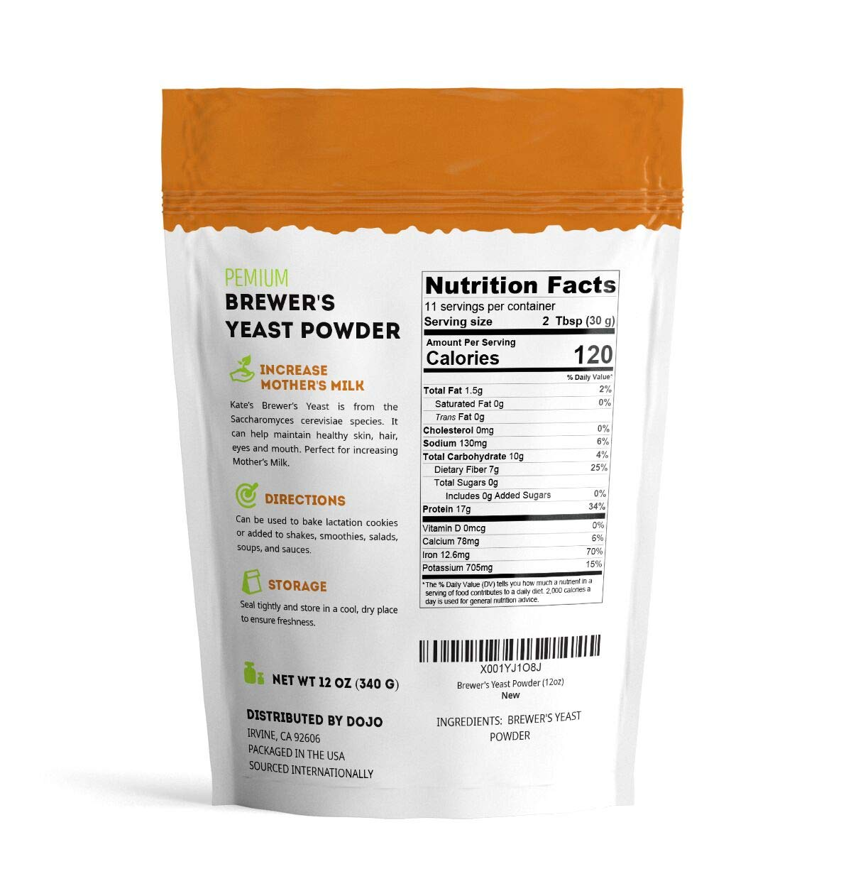 Brewer's Yeast Powder - Kate Naturals. Perfect for Lactation Cookies, Mother's Milk. Gluten-Free & Non-GMO. Fresh Fragrance. Large Resealable Bag. 1-Year Guarantee. 12oz. by Kate Naturals