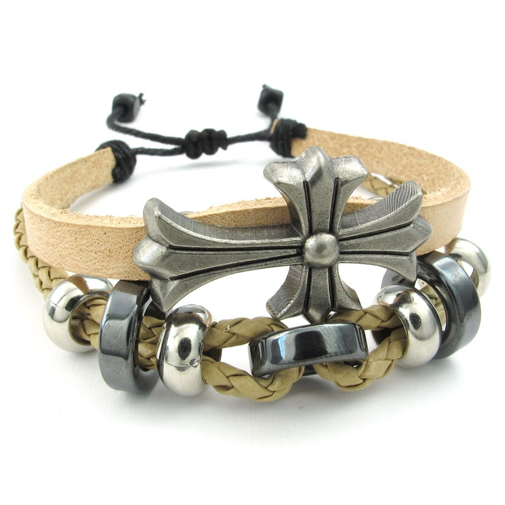 TEMEGO Jewelry Mens Womens Leather Bracelet Beads Cross Charms Cuff Bangle Fits 7-9 Inch