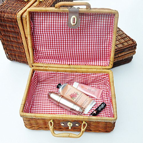 Wicker Picnic Basket Portable Travel Braided Basket Tea Set Basket Toy Storage Basket by Pueri (M)