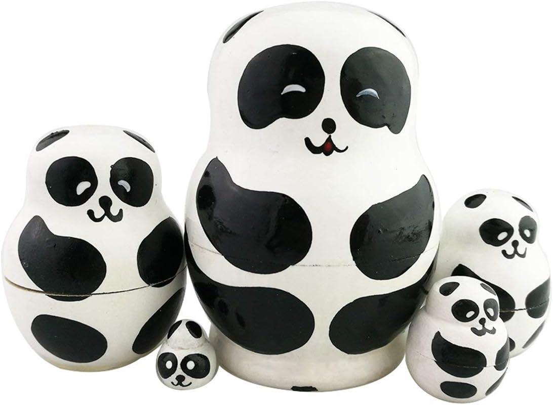 Cute Wooden Russian Nesting Babushka Matryoshka 15 Dolls Family Panda Bear
