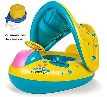 JCT 8-36 Meses BebéFflotador de Seguridad Anillo de Natación Bebé Niños Hinchable Natación Agua Flotador Anillo de Natación con Toldo Ajustable Parasol ...