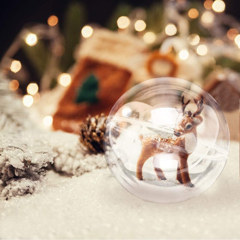 4cm//1.57 Zinsale 20pcs Palla di Natale in plastica Palline da riempire Trasparenti Palline di Natale Ornamenti per Alberi di Natale riempibili Decorazione Natalizia con Filo