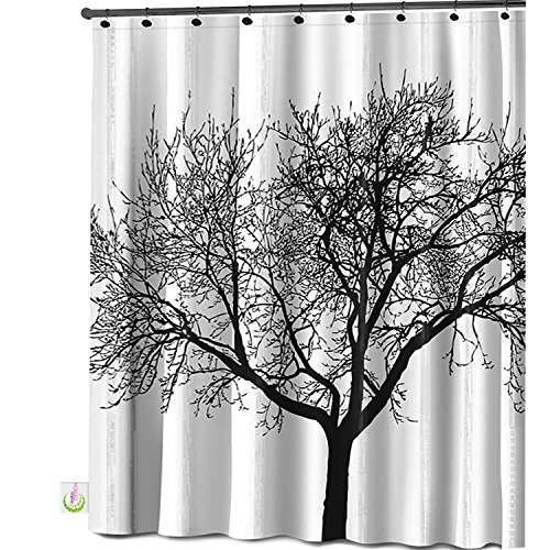 Mildew Resistant Shower Curtain Fabric - 72x72 Tree Design Peva Curtain for Bathroom - Waterproof Odorless Eco Friendly Anti Bacterial - Heavy Duty Metal Grommets - Creatov Design