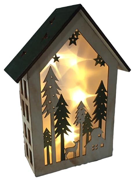 Led Holz Dekohaus Weihnachtshaus 26 Cm Hoch Erzgebirgsstil