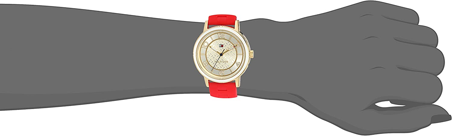 Tommy Hilfiger Women s Quartz Silver and Gold and Silicone Casual Watch, Color Red Model 1781668