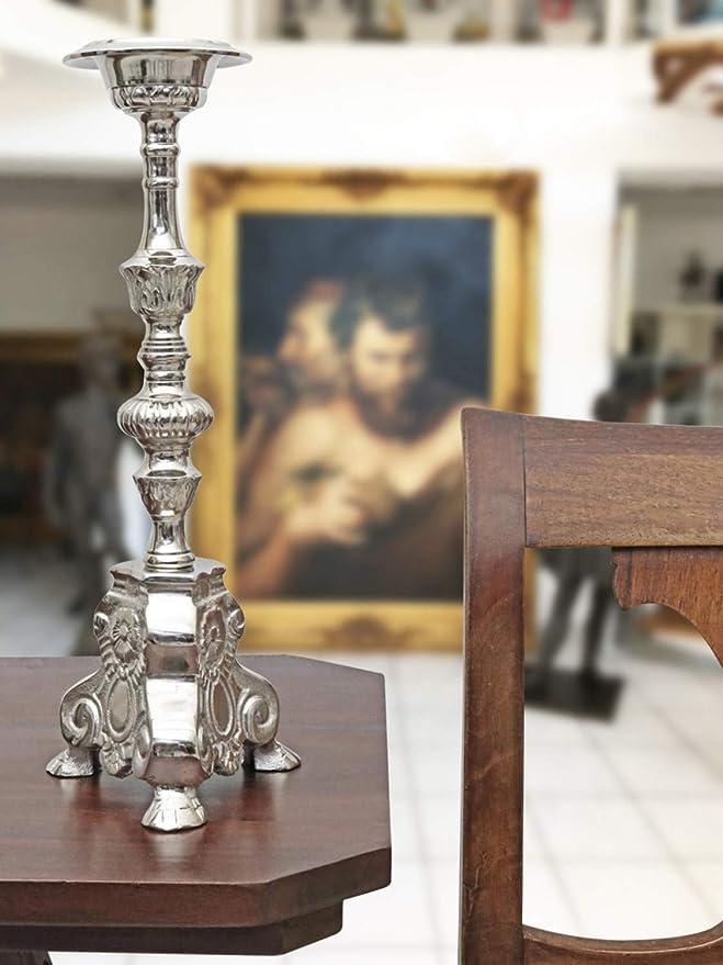 Aubaho Candelero candelabro Iglesia ALU Altar Estilo Antiguo 34cm