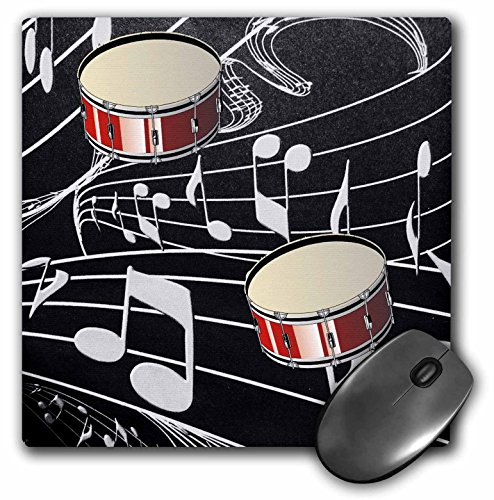 3dRose LLC 8 x 8 x 0.25 Inches Mouse Pad, Red Drums on Music Notes (mp_38199_1)
