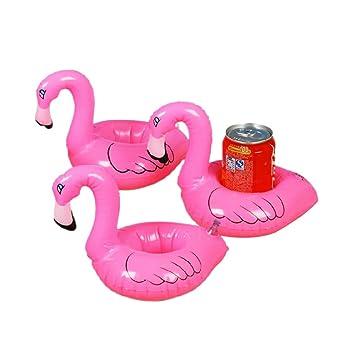3pcs Juguetes Flotantes Inflables de Flamingo Posavasos para Piscina Rosados