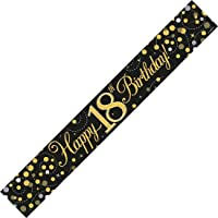 Rimi Hanger Birthday Party Decorations Holographic Sparkling Banners Happy Birthday Bunting 18th Birthday Black & Gold Banner One Size (2.7m)