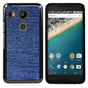 Fabric Fashion Blue Pattern Caja protectora de pl??stico duro Dise?¡Àado King Case For LG Google Nexus 5X