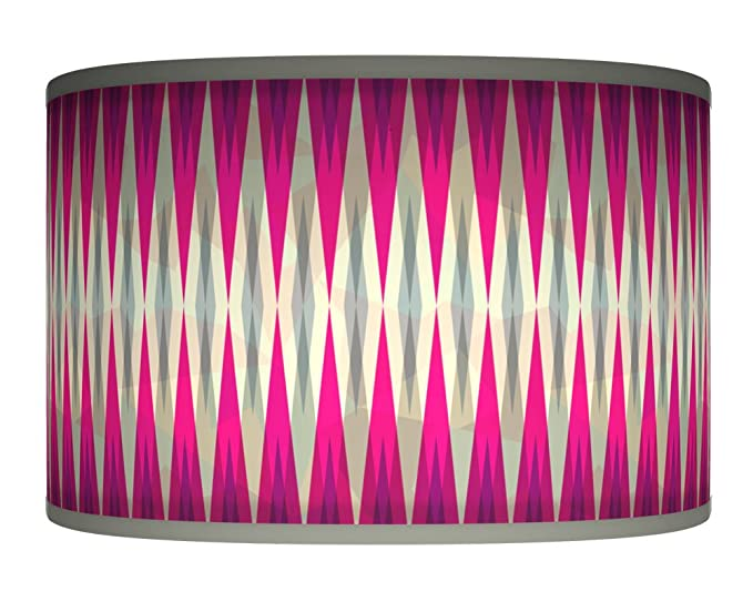 50cm hot pink fuschia grey retro geometric handmade giclee style 50cm hot pink fuschia grey retro geometric handmade giclee style printed fabric lamp drum lampshade floor mozeypictures Gallery
