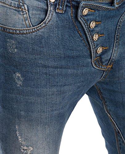 Botón Bridge Red Skinny Azul Jeans Classic Pantalones Hombre Destruido APRnqAU