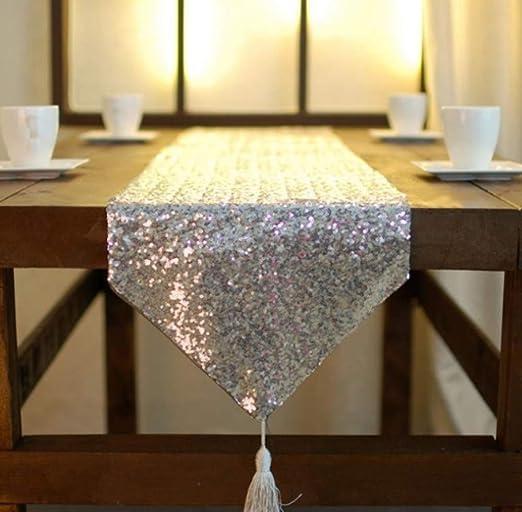 LXHZQ Camino De Mesa Table Flag Sparkly Sequin Table Runner Borla ...