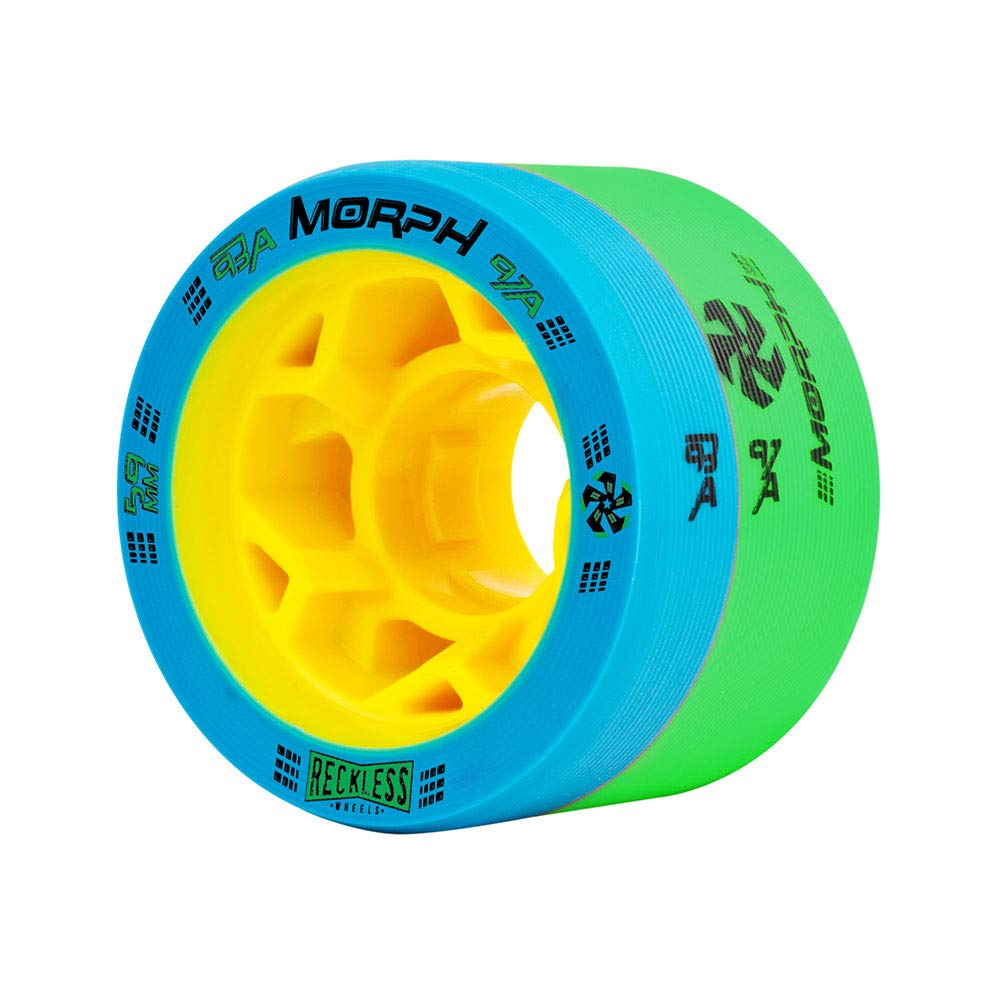 Reckless Radar Wheels - Morph - 4 Pack of 38mm x 59mm Dual-Hardness Roller Skate Wheels | 93A/97A | Blue/Green by Reckless