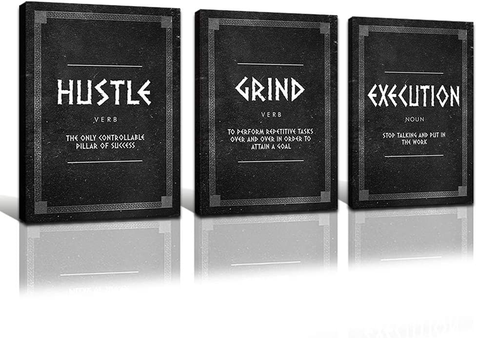 FADALO ART Motivational Canvas Wall Art Hustle Grind Execution Art Prints for Office Wall Decor Inspirational Quotes Poster for Men Framed Inspiring Picture for Teen Boy Living Room Decor 12
