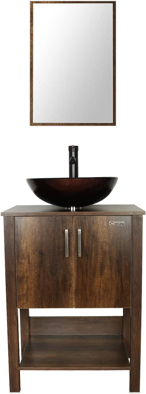 eclife 24'' Bathroom Vanity Sink Combo Brown Cabinet Round Tempered Glass Vessel Sink & 1.5 GPM Water Save Faucet & Solid Brass Pop Up Drain, with Mirror (A09 B12C)