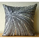 """Designer Grey Accent Pillows 14 x 14, Metallic Sequins and Beaded Pinwheel Glitter Pillows Cover, 14""""x14"""" Throw Pillow Cover, Square Silk Pillowcase, Contemporary Pillow Covers -Silver Bloom"""